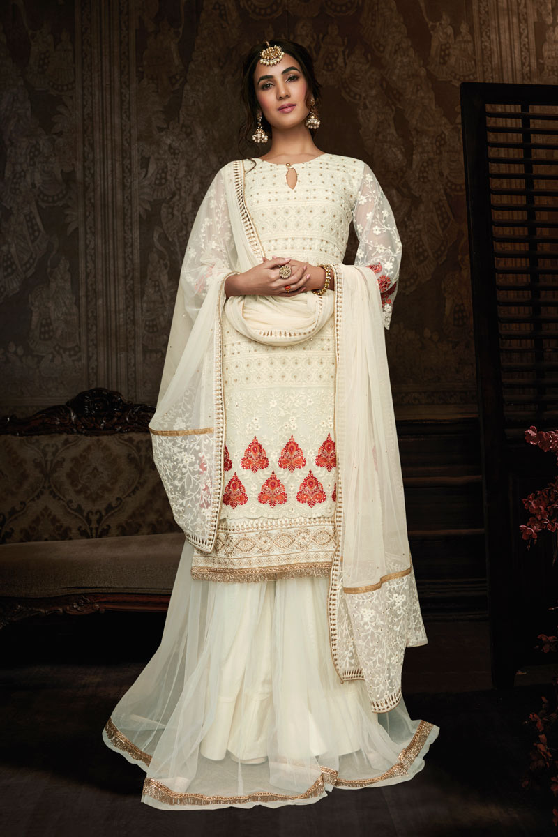 Sonal Chauhan Featuring Georgette Fabric Party Wear Embroidered Sharara Suit In Off White Color