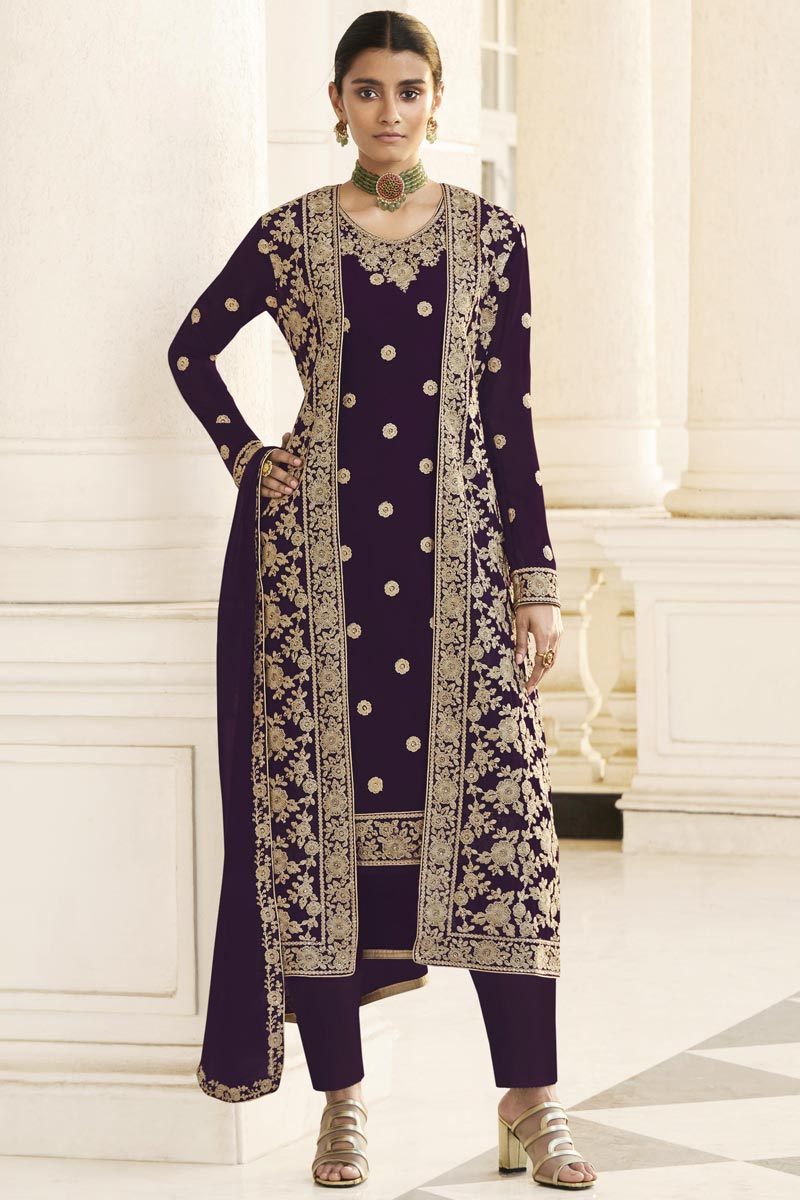 Party Wear Purple Embroidered Straight Cut Suit With Jacket In Georgette