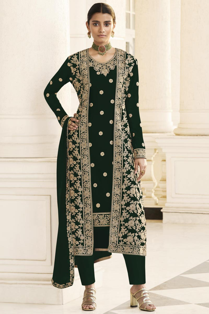 Dark Green Party Wear Embroidered Georgette Straight Cut Dress With Jacket