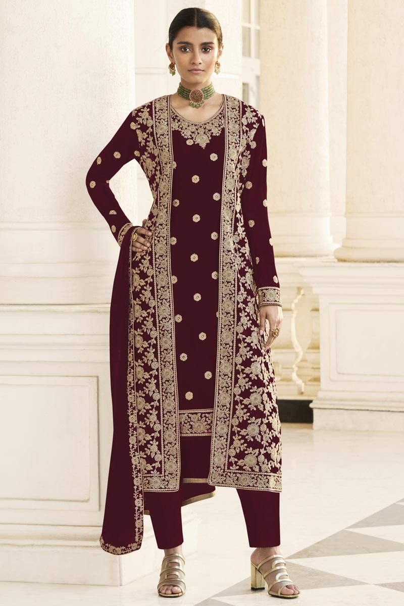 Maroon Party Wear Embroidered Straight Cut Suit With Jacket In Georgette