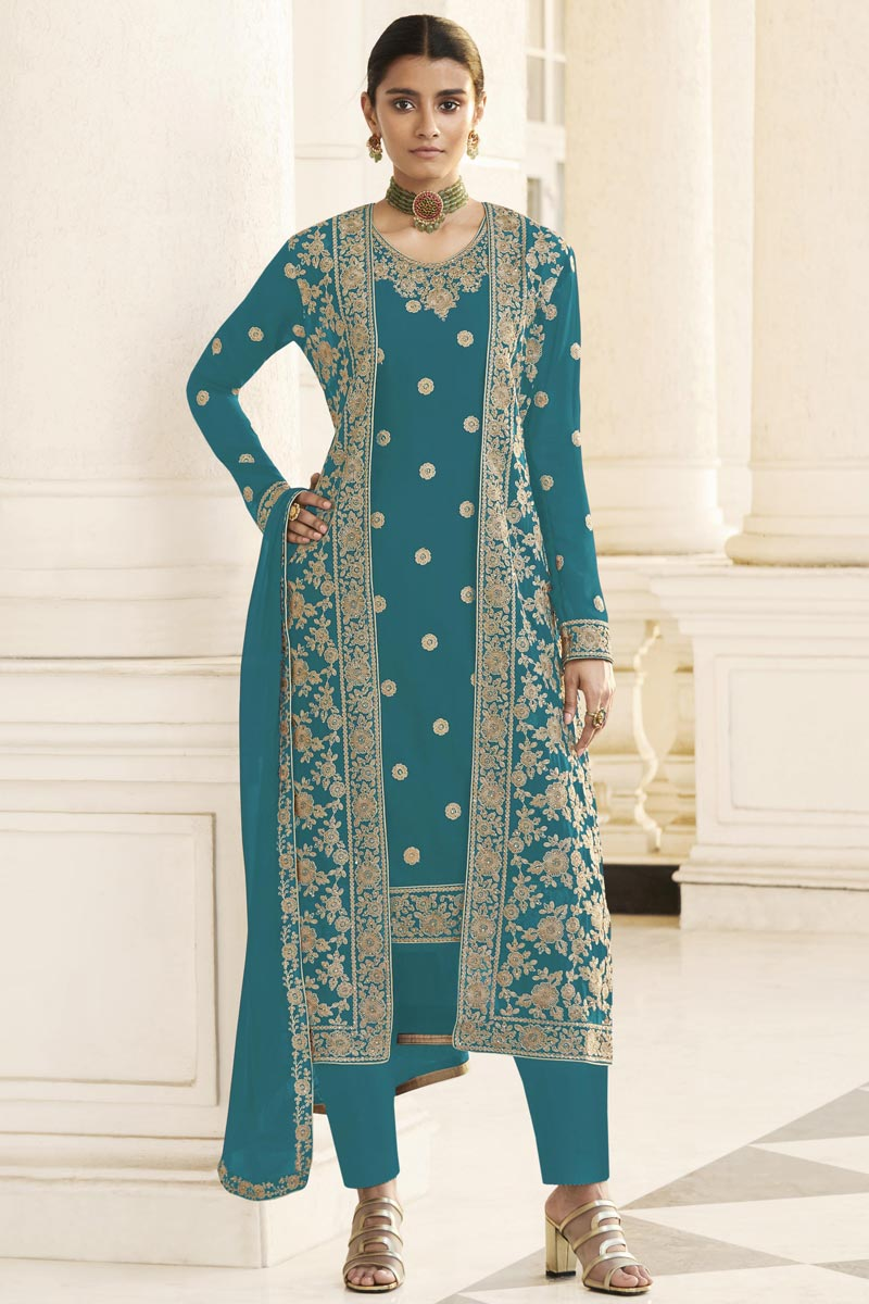 Party Wear Cyan Georgette Embroidered Straight Cut Dress With Jacket