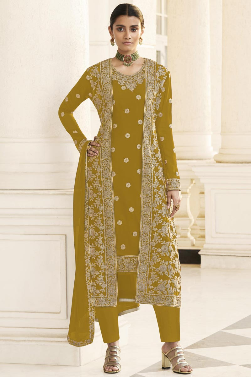Georgette Party Wear Embroidered Straight Cut Suit With Jacket In Mustard