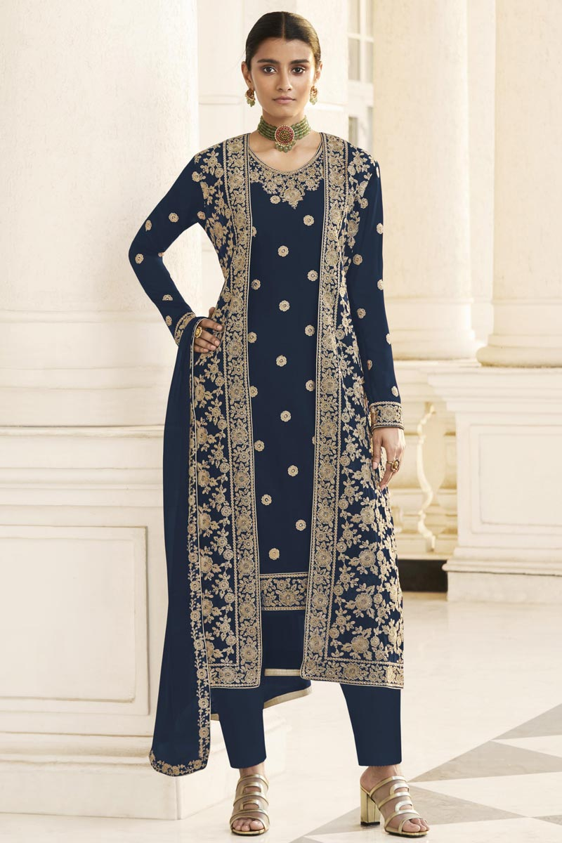 Party Wear Navy Blue Embroidered Straight Cut Georgette Dress With Jacket