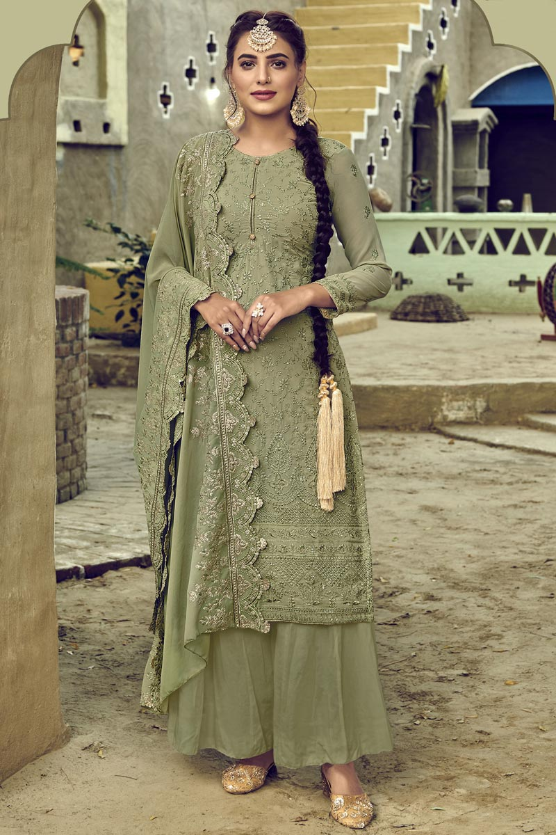 Sangeet Wear Georgette Fabric Thread Embroidered Palazzo Suit In Khaki Color