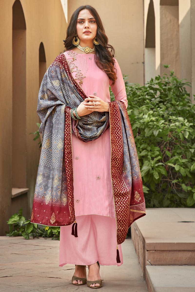 Party Wear Classic Pink Color Thread Embroidered Art Silk Fabric Palazzo Dress