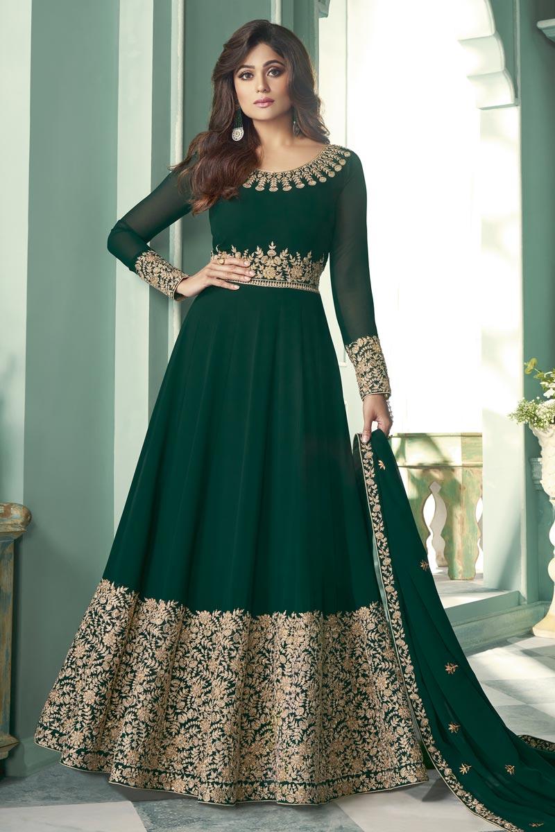 Shamita Shetty Function Wear Embroidered Dark Green Color Long Length Anarkali Suit