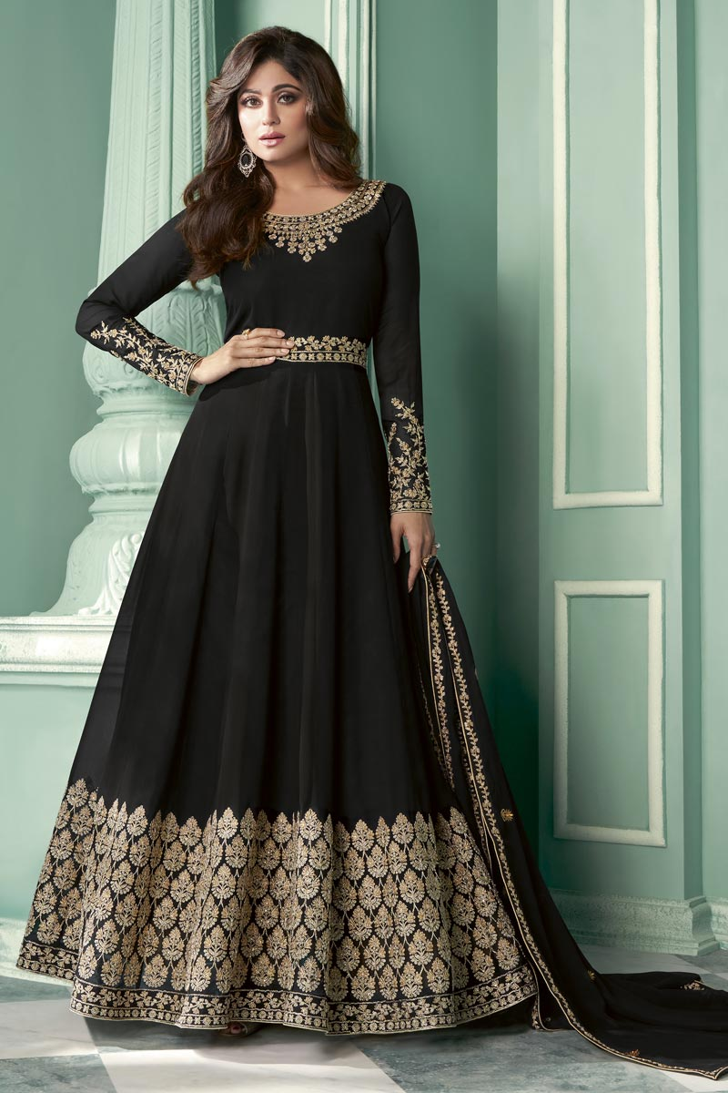 Shamita Shetty Function Wear Embroidered Floor Length Black Color Anarkali Dress