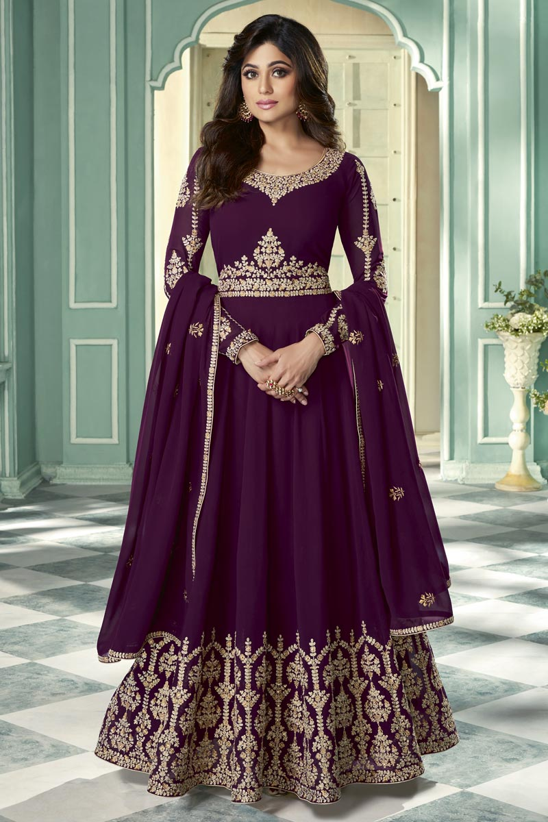 Shamita Shetty Function Wear Embroidered Purple Color Floor Length Anarkali Dress