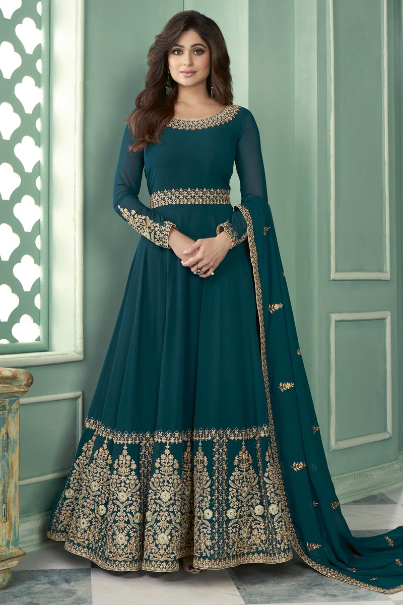 Shamita Shetty Function Wear Teal Color Embroidered Long Length Anarkali Suit