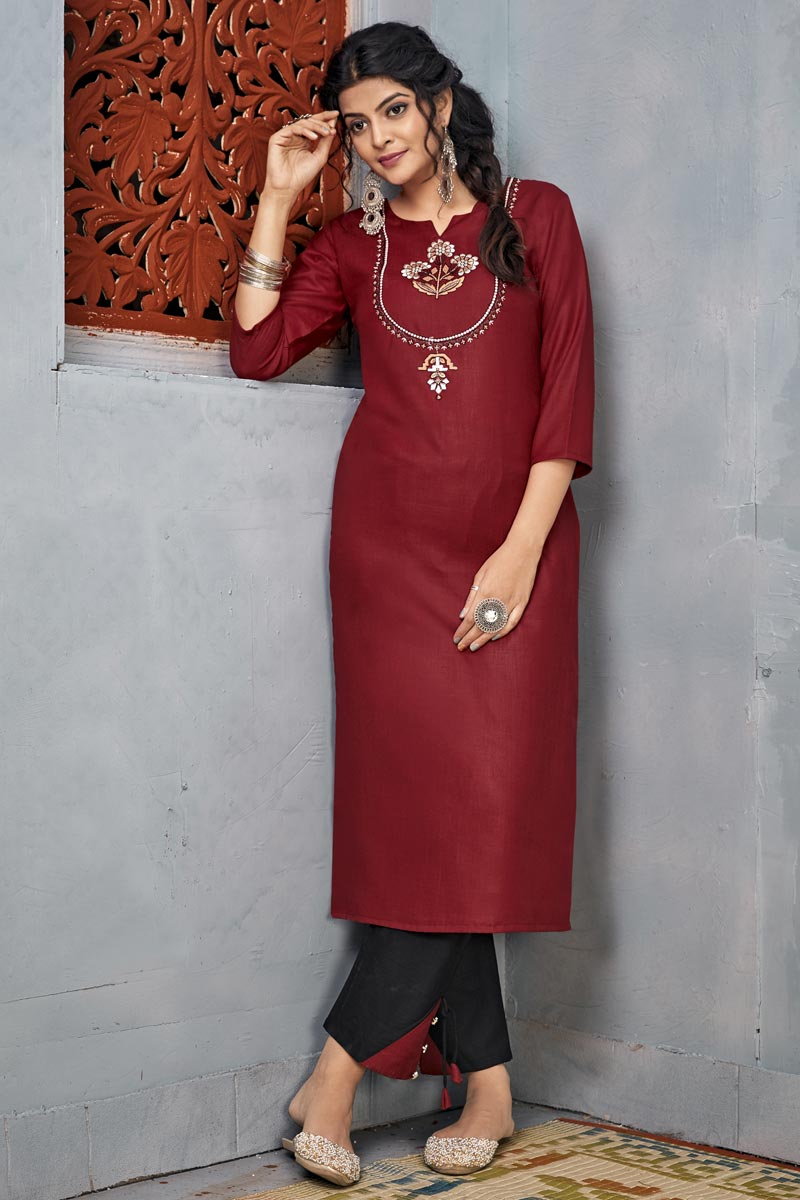 Maroon Color Rayon Fabric Party Wear Embroidery Work Long Kurti With Pant