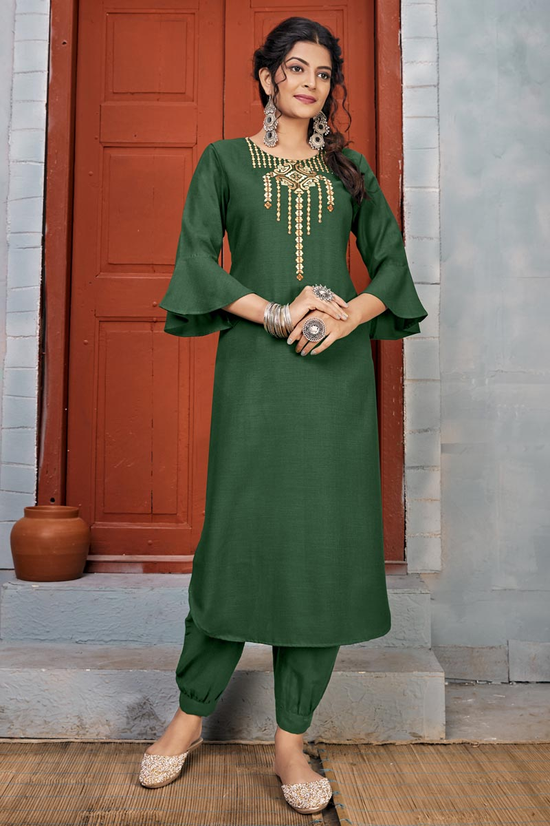 Green Color Party Wear Embroidery Work Long Kurti With Pant In Rayon Fabric