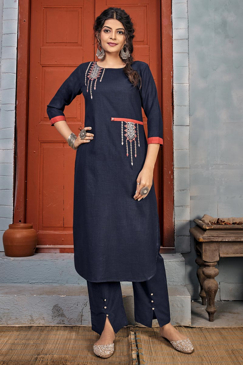 Rayon Fabric Party Wear Navy Blue Color Embroidery Work Long Kurti With Pant