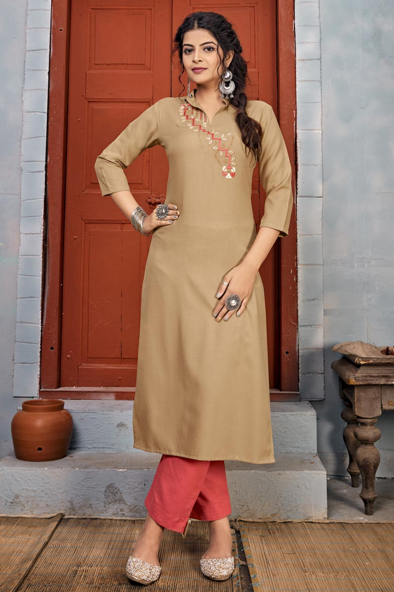 Beige Color Party Wear Rayon Fabric Embroidery Work Long Kurti With Pant