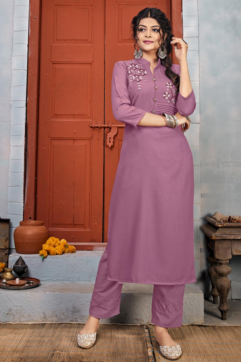 Party Wear Lavender Color Rayon Fabric Embroidery Work Long Kurti With Pant