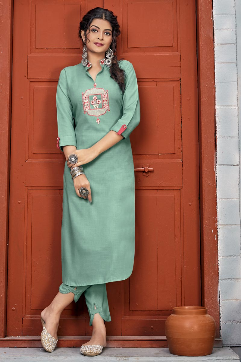 Party Wear Sea Green Color Embroidery Work Long Kurti With Pant In Rayon Fabric