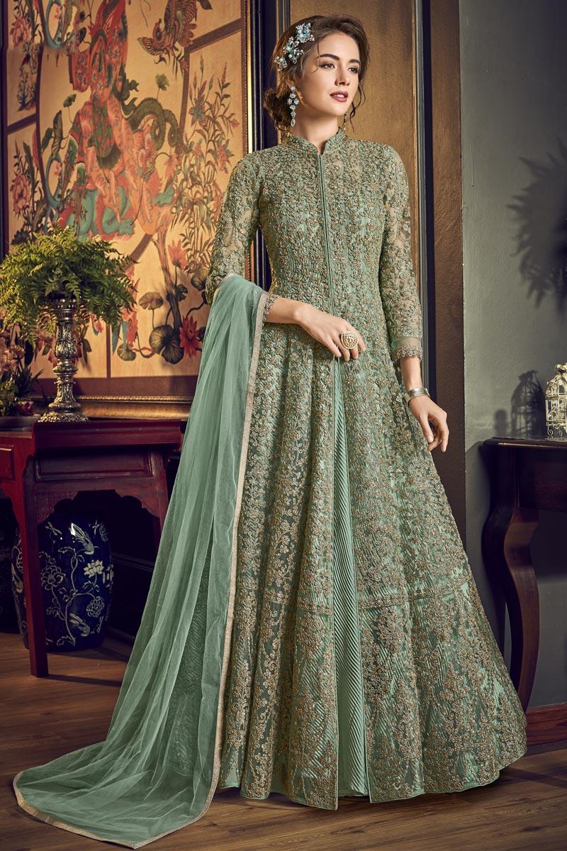 Sangeet Wear Net Fabric Fancy Embroidered Floor Length Anarkali Dress In Sea Green Color