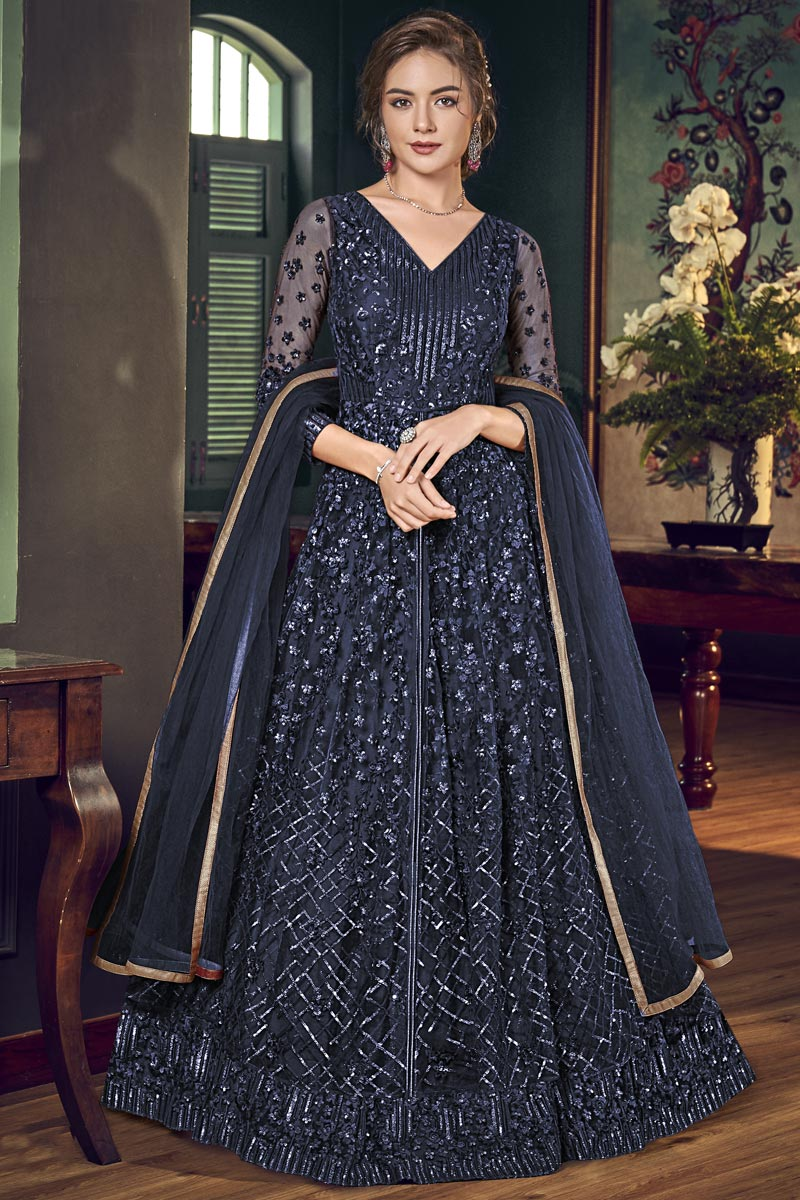 Net Fabric Sangeet Wear Navy Blue Color Long Length Fancy Embroidered Anarkali Suit