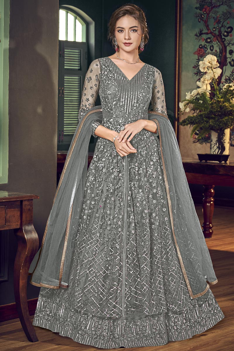 Sangeet Wear Grey Color Fancy Embroidered Floor Length Anarkali Dress In Net Fabric