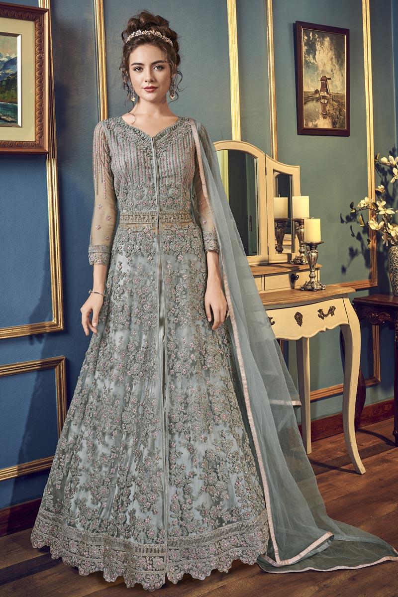 Grey Color Sangeet Wear Net Fabric Fancy Embroidered Long Length Anarkali Suit