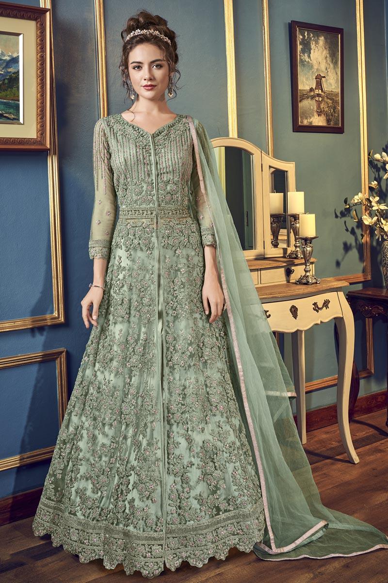 Net Fabric Sangeet Wear Fancy Embroidered Floor Length Anarkali Dress In Sea Green Color