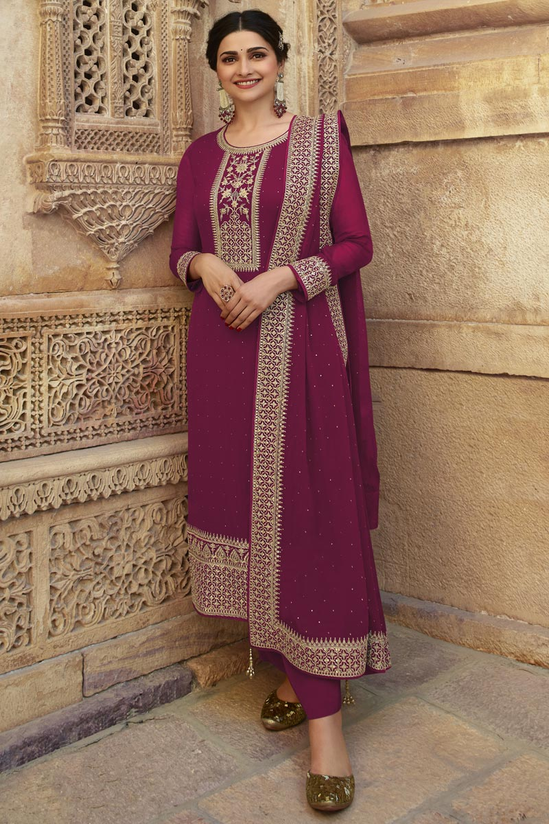 Prachi Desai Burgundy Color Georgette Fabric Party Style Fancy Embroidered Straight Cut Dress