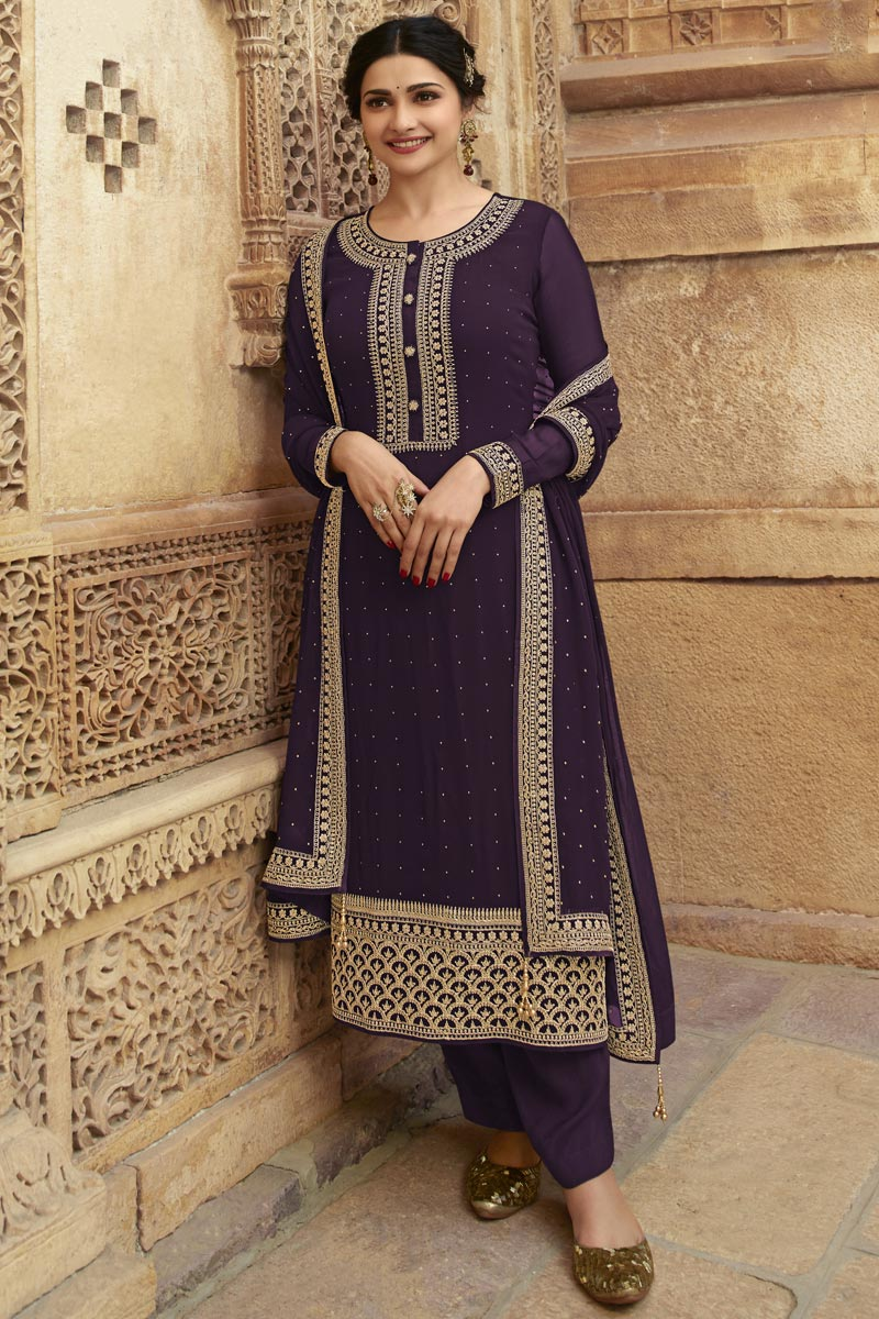 Prachi Desai Georgette Fabric Party Style Fancy Embroidered Straight Cut Dress In Purple Color