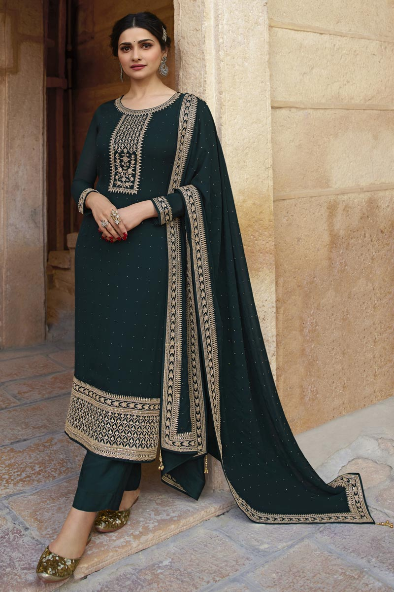 Prachi Desai Party Style Georgette Fabric Teal Color Fancy Embroidered Straight Cut Suit
