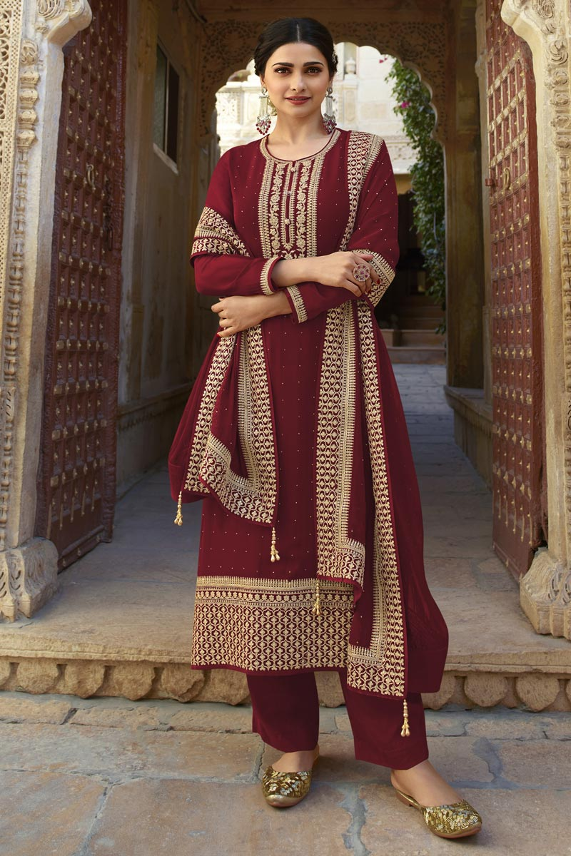 Prachi Desai Party Style Fancy Embroidered Georgette Fabric Maroon Color Straight Cut Suit