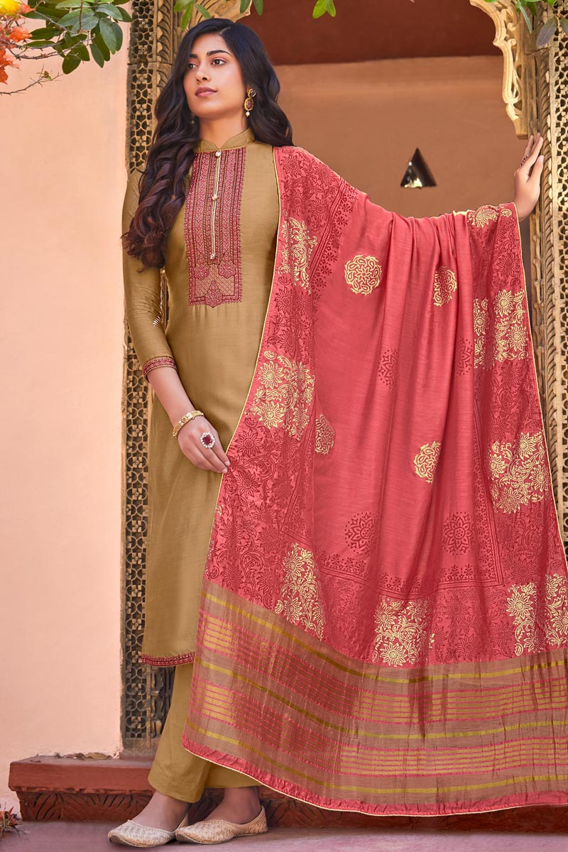 Cotton Silk Fabric Festive Wear Embroidered Straight Cut Suit In Cream Color