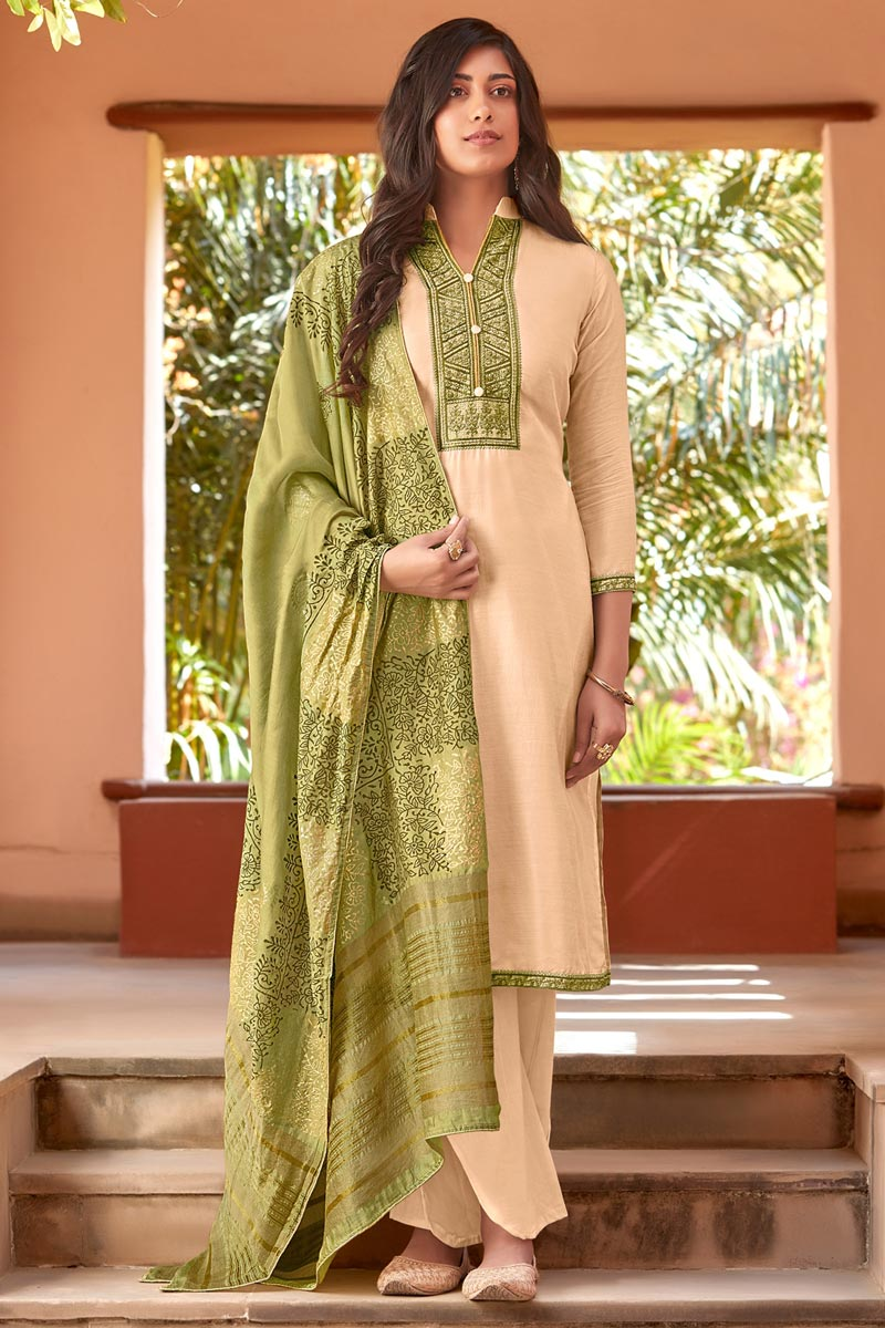 Beige Color Festive Wear Embroidered Straight Cut Suit In Cotton Silk Fabric