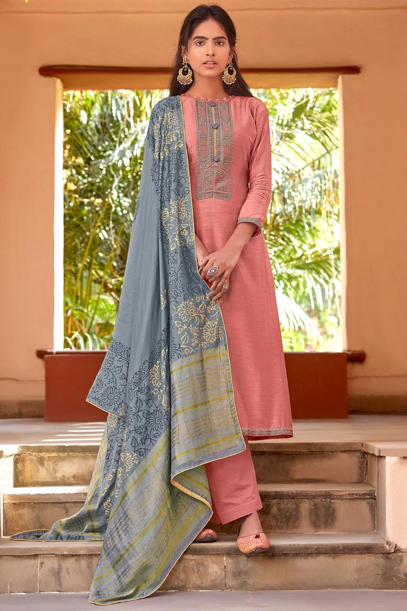 Festive Wear Peach Color Embroidered Straight Cut Suit In Cotton Silk Fabric