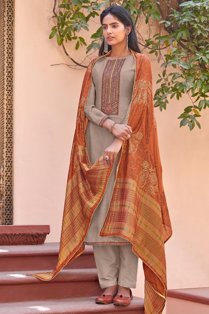 Dark Beige Color Festive Wear Embroidered Cotton Silk Fabric Straight Cut Dress