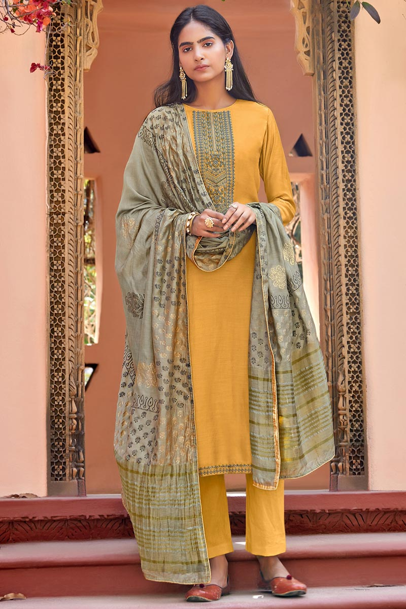 Festive Wear Yellow Color Embroidered Straight Cut Cotton Silk Fabric Dress