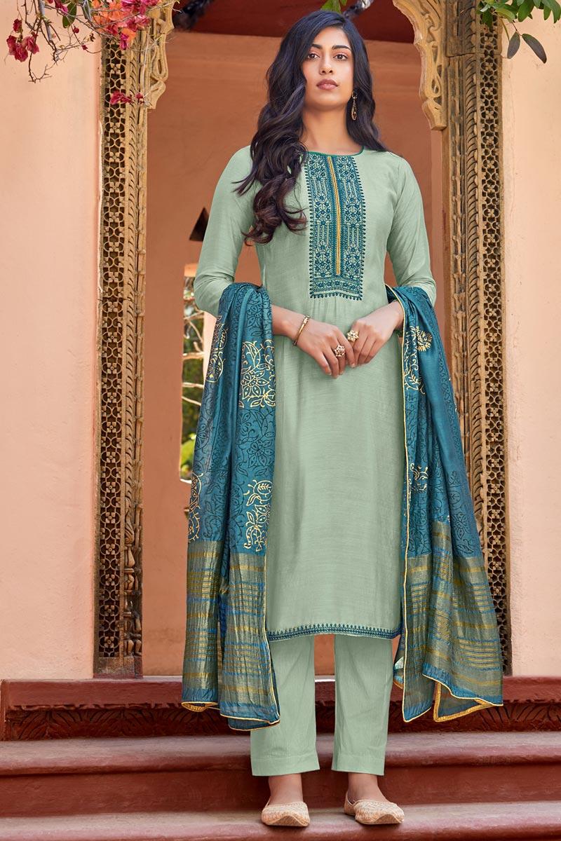 Festive Wear Sea Green Color Cotton Silk Fabric Embroidered Straight Cut Dress