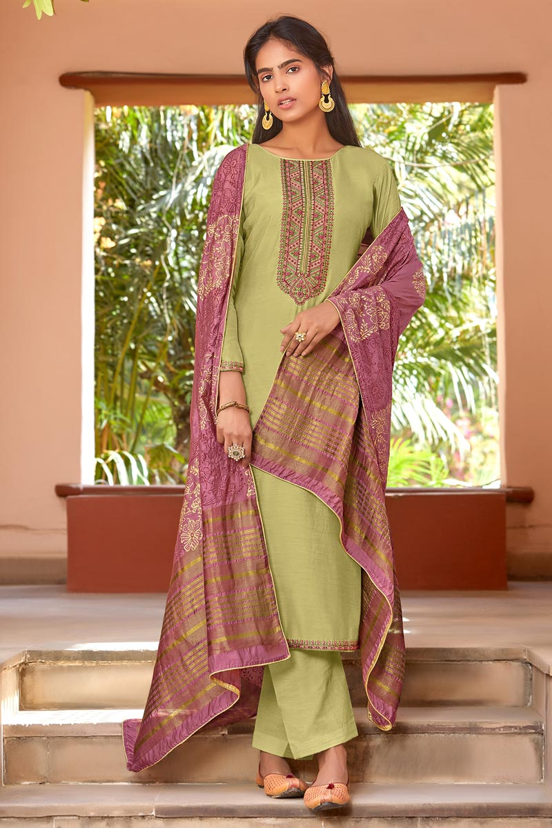 Festive Wear Embroidered Green Color Straight Cut Suit In Cotton Silk Fabric
