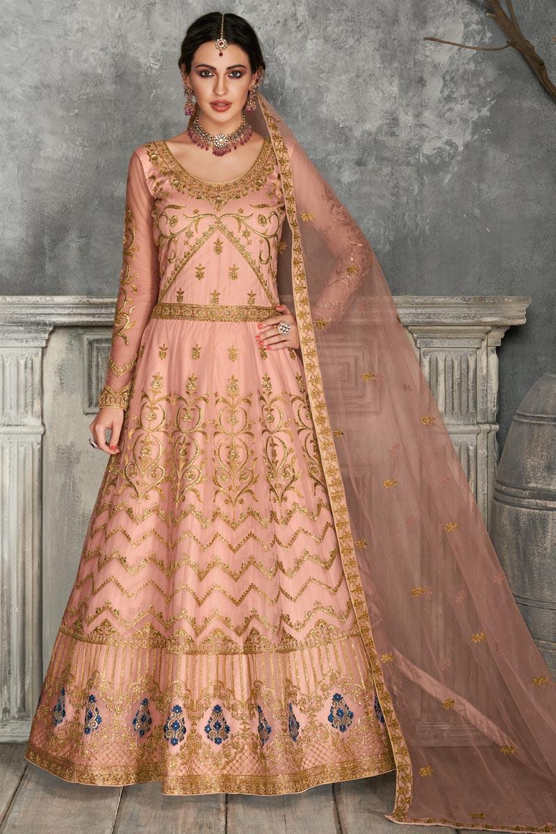 Peach Color Embroidered Floor Touch Anarkali Salwar Kameez