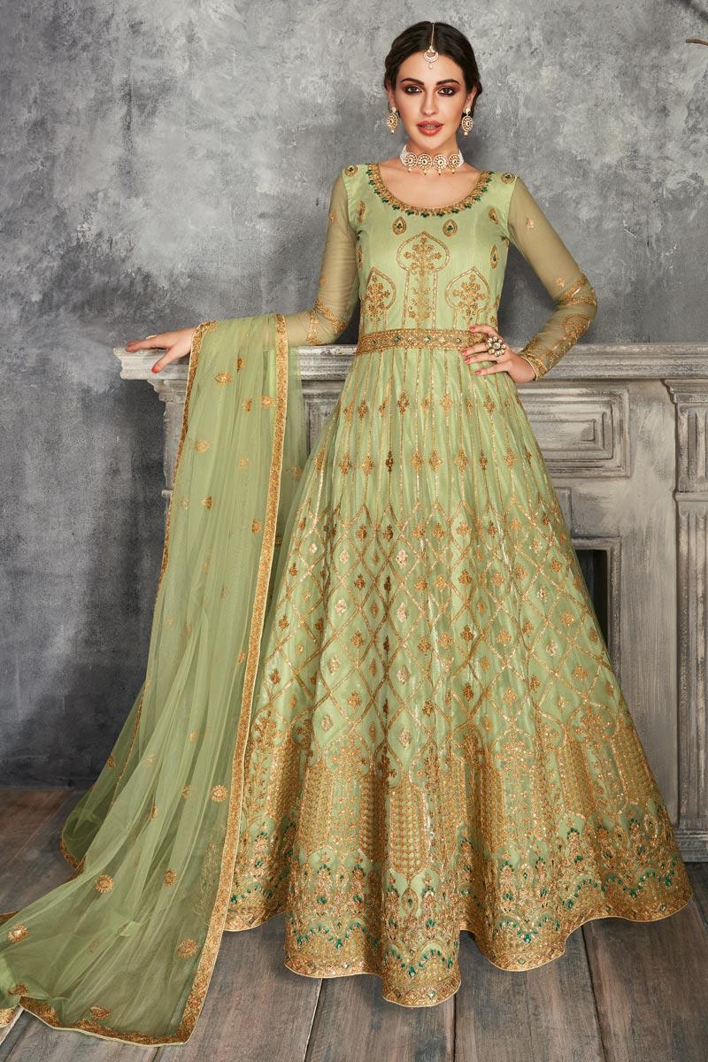 Net Fabric Party Wear Floor Touch Anarkali Salwar Suit