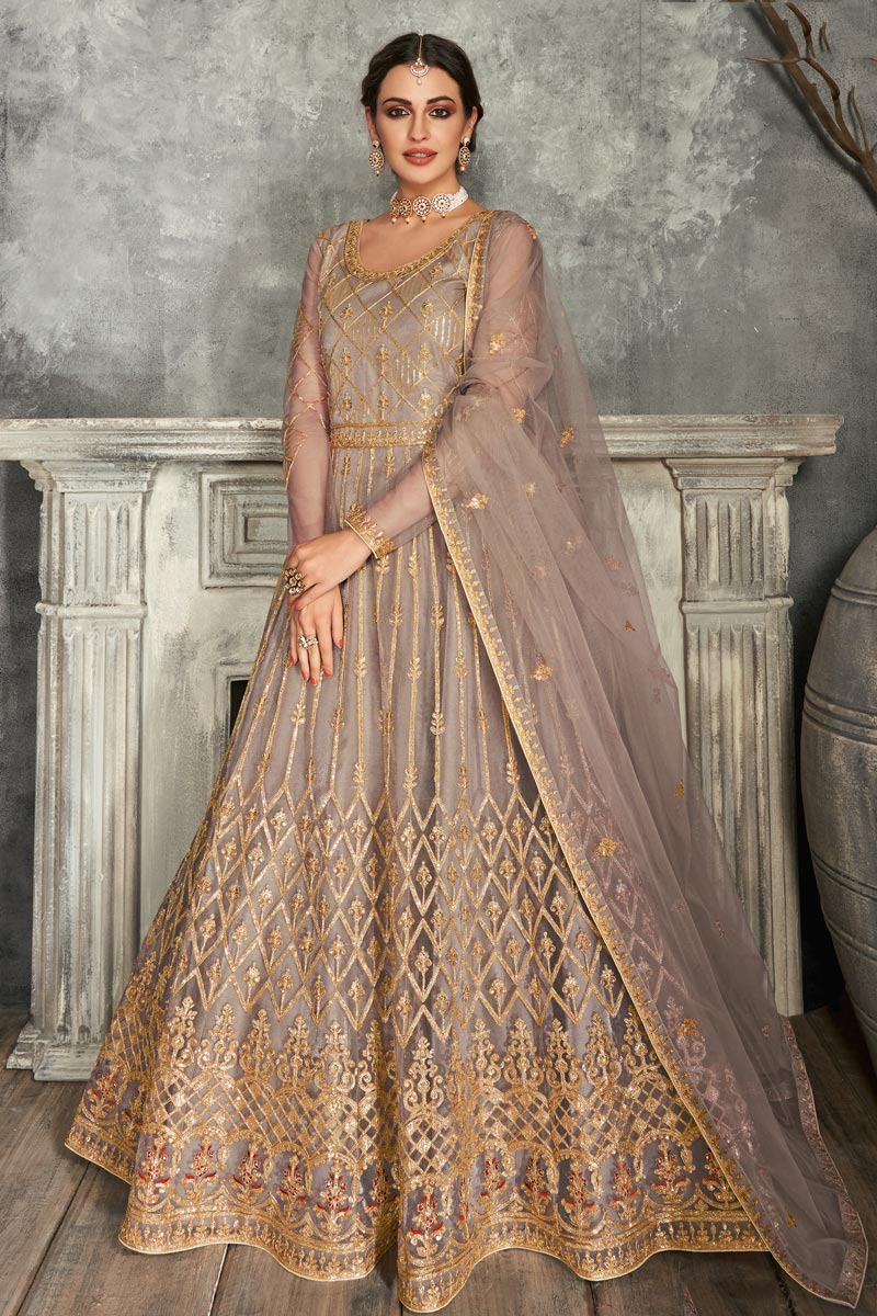 Dark Beige Color Net Fabric Function Wear Embroidered Floor Touch Anarkali Suit