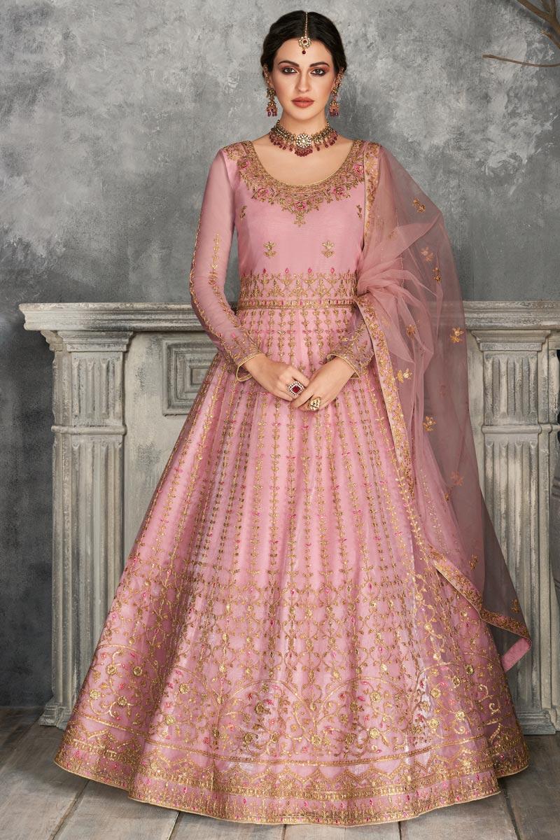 Occasion Wear Pink Color Embroidered Floor Touch Anarkali Salwar Kameez