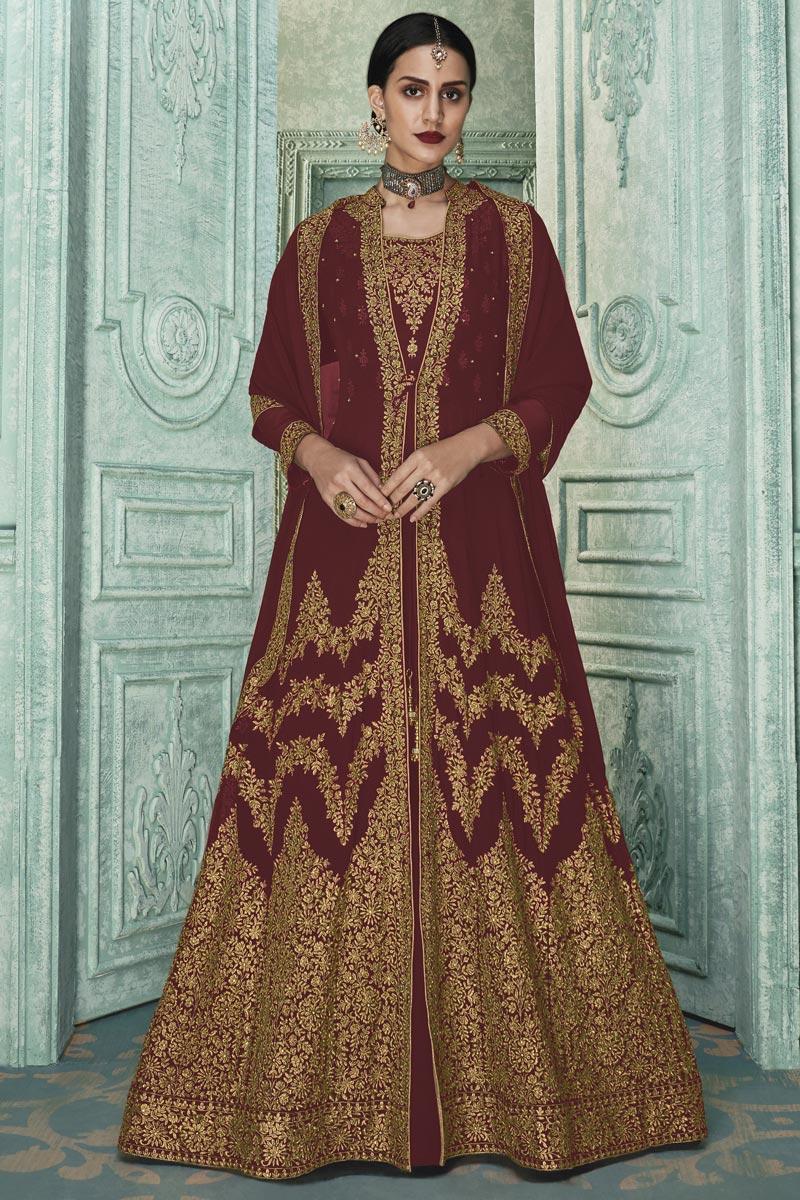 Georgette Fabric Designer Embroidered Anarkali Salwar Kameez In Maroon Color