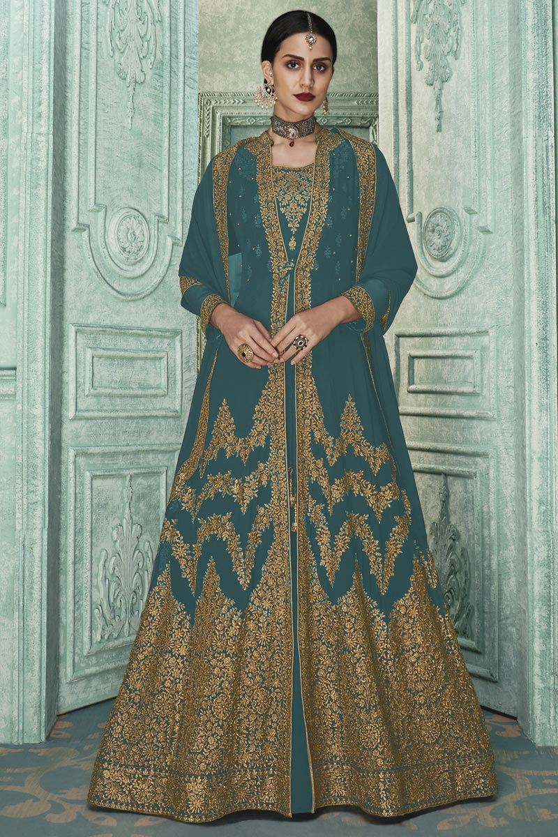 Teal Color Party Wear Anarkali Salwar Suit In Georgette Fabric With Embroidery Work