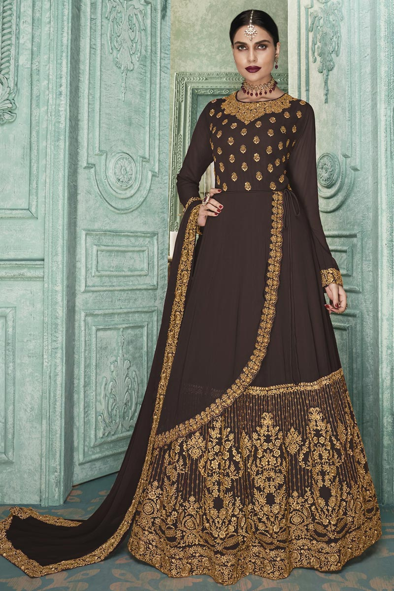 Brown Color Georgette Fabric Sangeet Wear Anarkali Suit With Embroidery Work