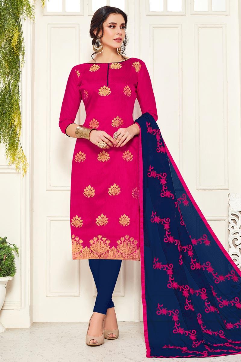 Casual Wear Rani Color Banarasi Fabric Straight Cut Suit
