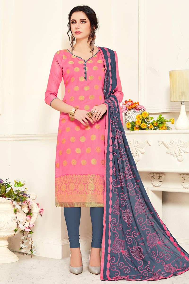 Banarasi Fabric Pink Color Casual Wear Straight Cut Dress