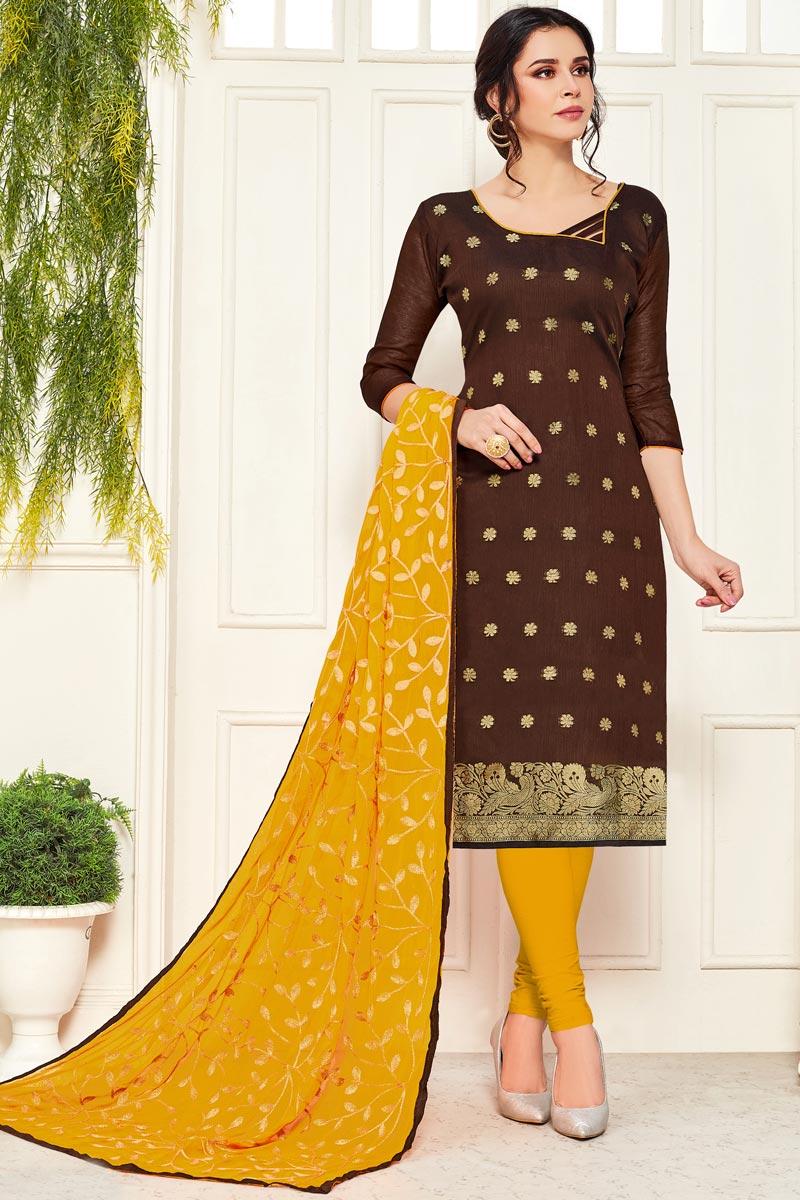 Casual Wear Brown Color Straight Cut Suit In Banarasi Fabric