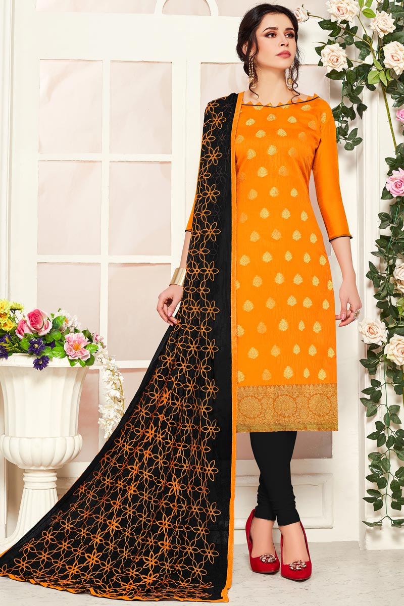Casual Wear Mustard Color Straight Cut Banarasi Fabric Suit