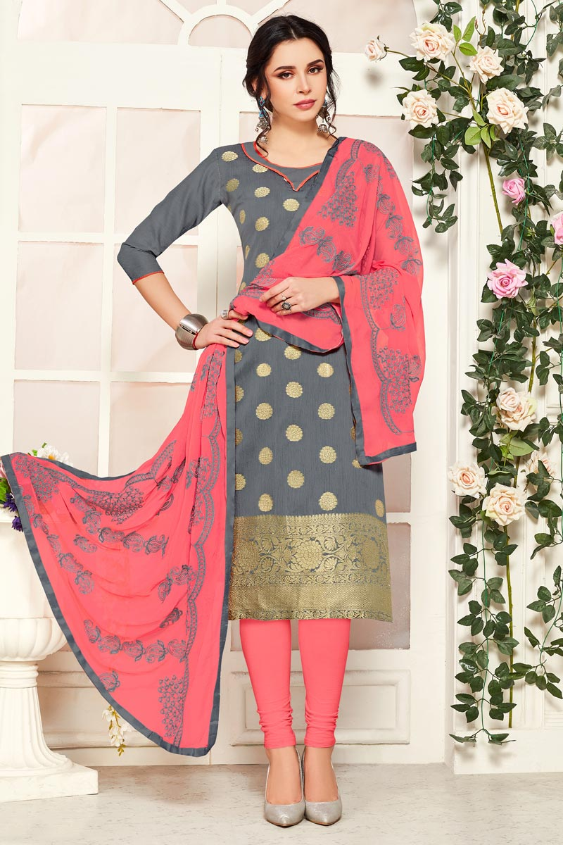 Grey Color Casual Wear Banarasi Fabric Straight Cut Dress