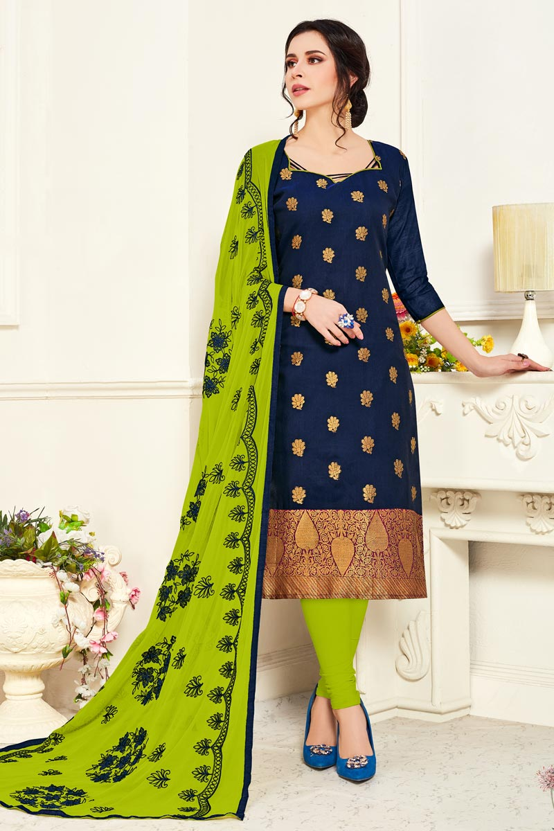 Navy Blue Color Banarasi Fabric Casual Wear Straight Cut Dress