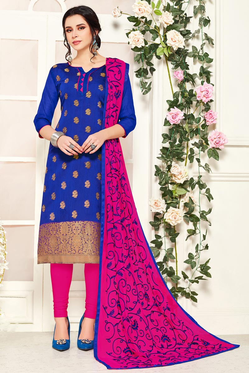 Casual Wear Banarasi Fabric Straight Cut Suit In Blue Color
