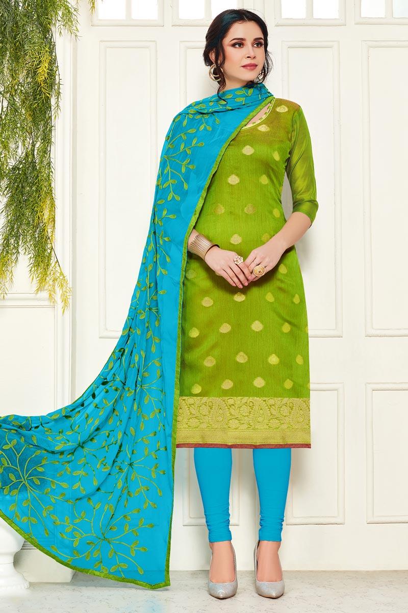 Banarasi Fabric Casual Wear Straight Cut Dress In Green Color